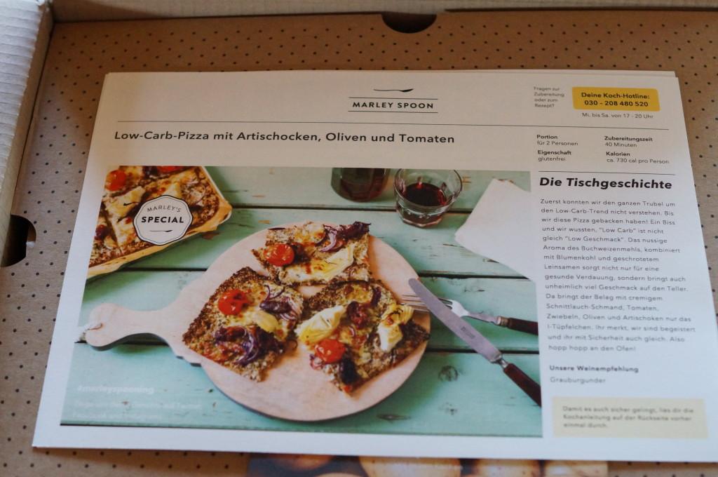 Rezeptkarte für die Low-Carb-Pizza