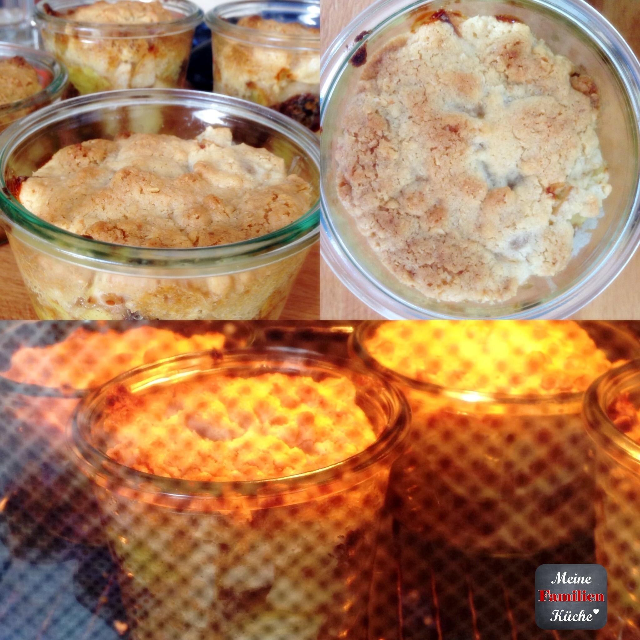 Kuchen im Glas mit Apfel-Rosinen-Füllung