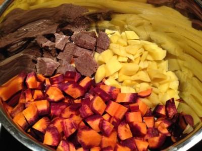 Kartoffeln, Rindfleisch & Möhren